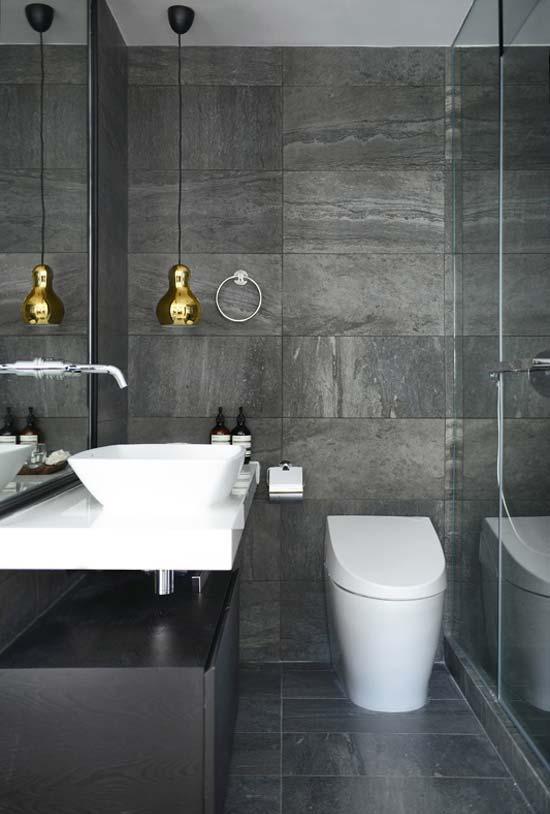 banheiro em cinza e branco