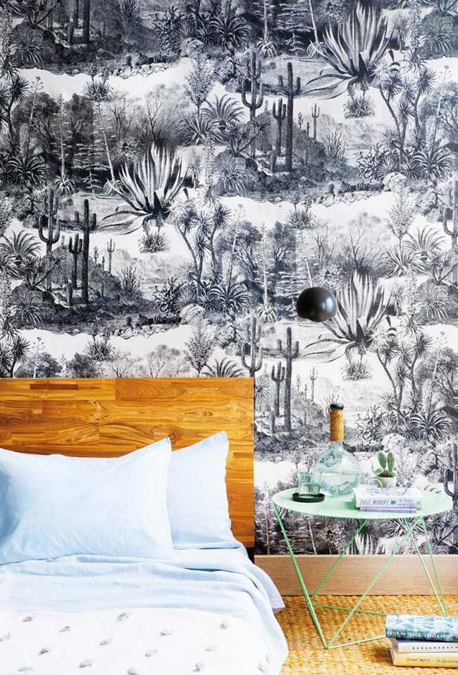 Papel de parede preto e branco das espécies de plantas desérticas no estilo gravura