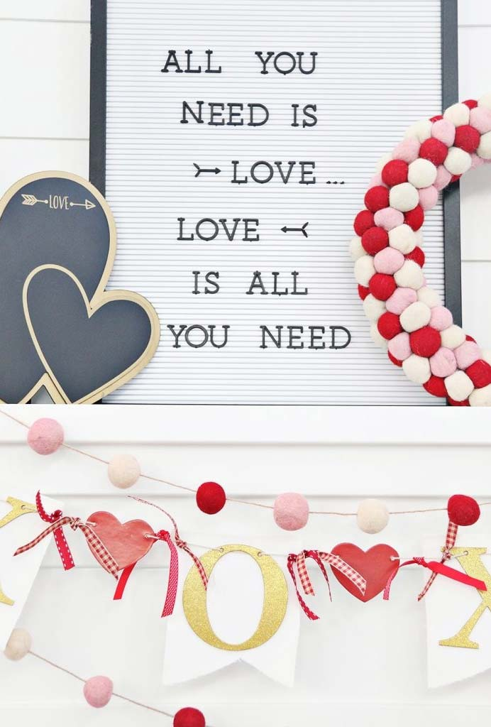 Decoração de Dia dos Namorados com papel