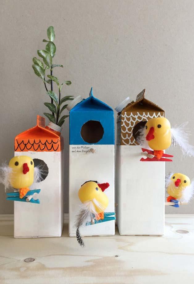 artesanato com caixa de leite divertido para a sua casa