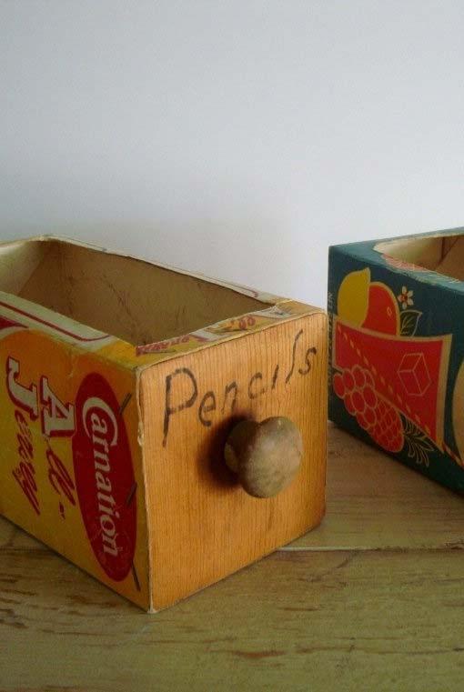Caixas organizadoras feitas de caixa de leite