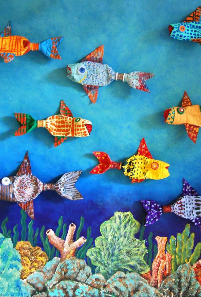 Artesanato com garrafa pet: peixinhos super coloridos