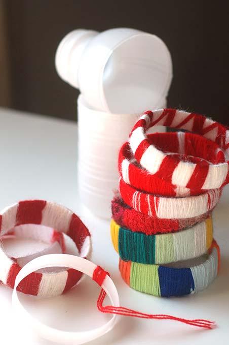 Artesanato com garrafa pet e lã