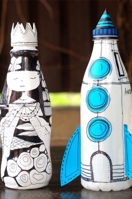 Coloque toda a sua criatividade nesses formatos: outra ideia para criar objetos ou personagens dentro do formato da garrafa pet