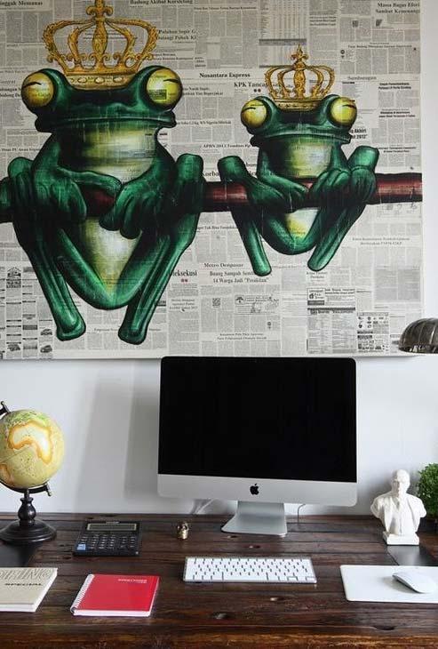 Artesanato com jornal velho: mural pintado