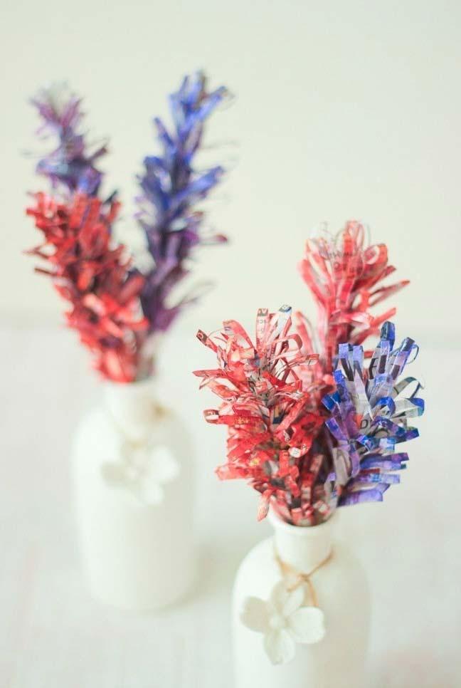 Artesanato com jornal: Plantinhas artificiais e super coloridas