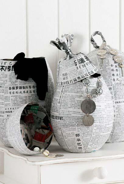 Cestinhas e potes feitos só com dois materiais: artesanato com jornal e cola