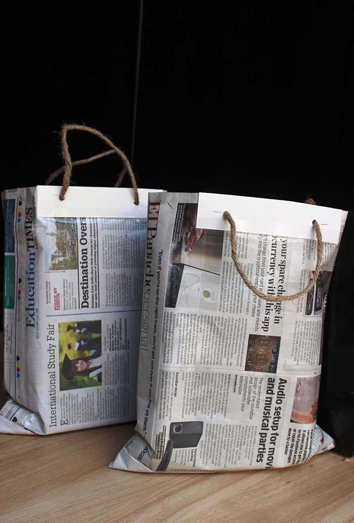 Sacolas reutilizáveis de jornal