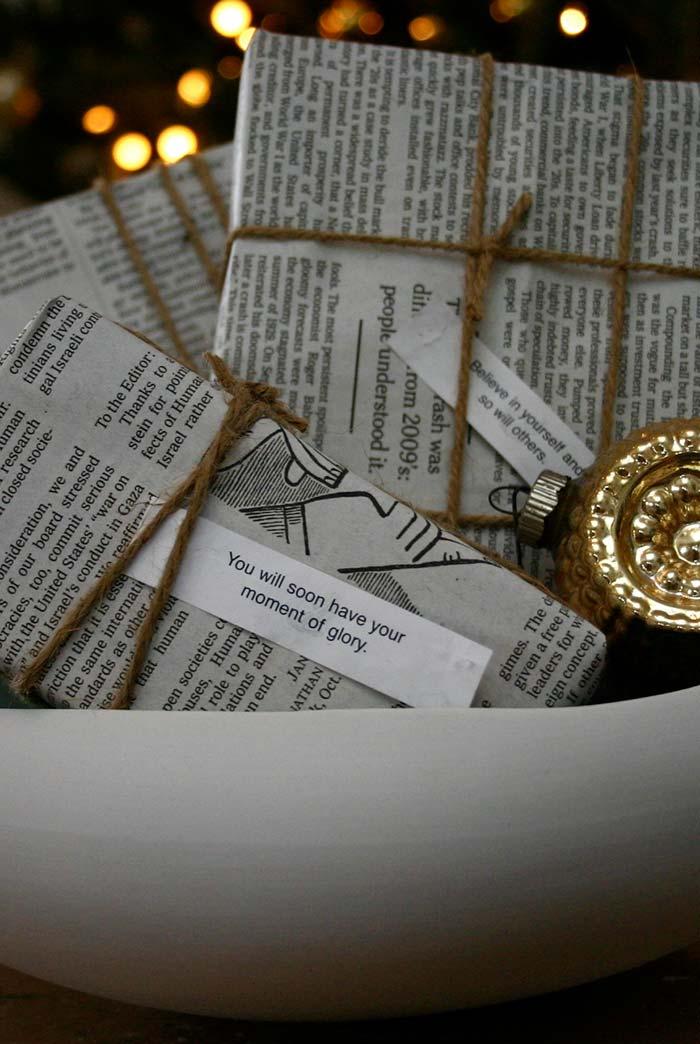 Artesanato com jornal: outra ideia de embalagem simples para presentes e lembranças