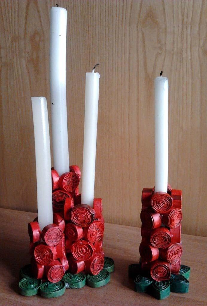 Porta-velas natalino e criativo com tirinhas de jornal