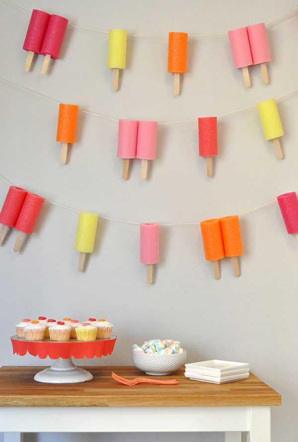 Garlands como decoração parede para festa
