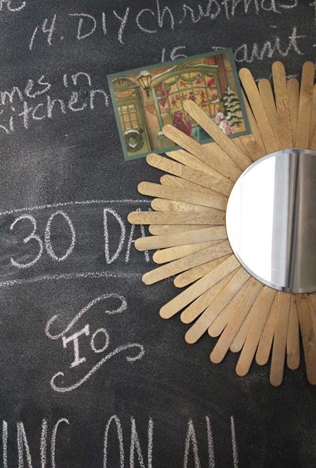 Artesanato com palito de picolé moldura estilo raios solares de madeira para espelho redondo