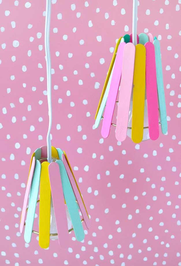 Artesanato com palito de picolé: cúpulas para luminária