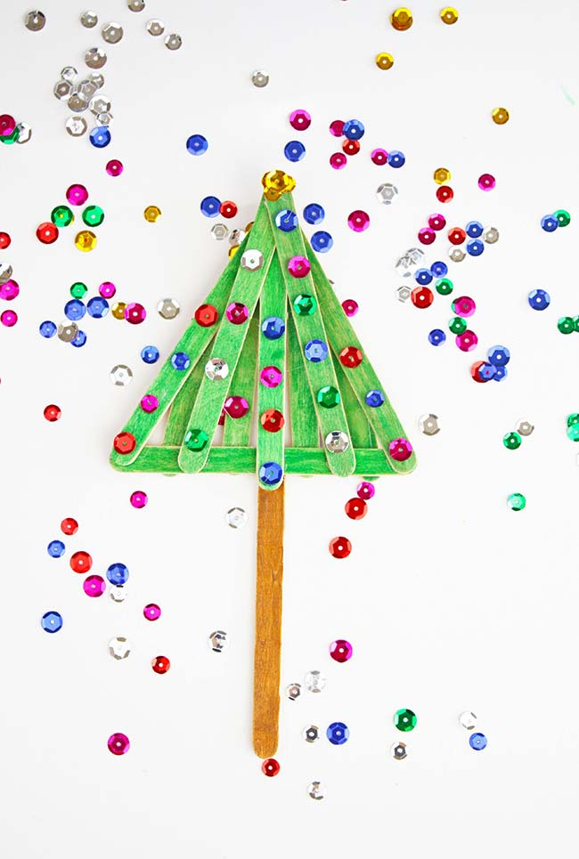 Árvore personalizada de Natal de artesanato com palito de picolé