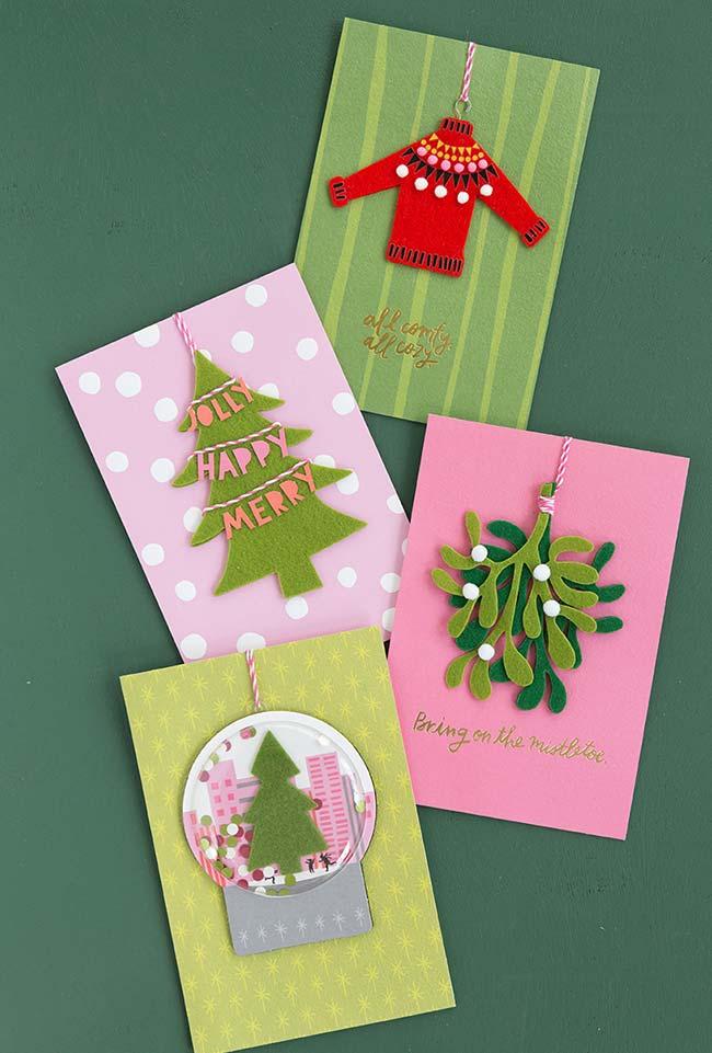 Cartões de Natal em feltro