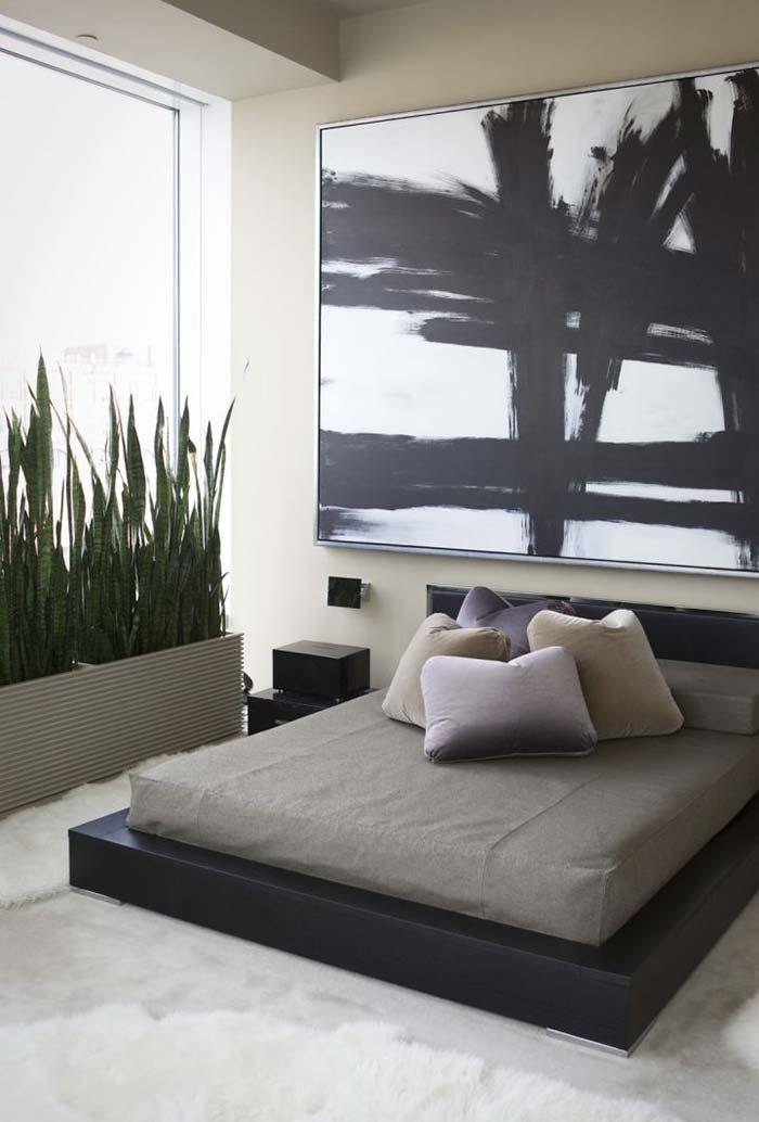 Estilo oriental e cama japonesa no quarto