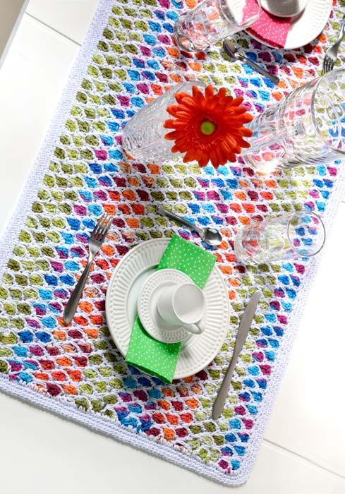 Caminho de mesa de crochê supercolorido
