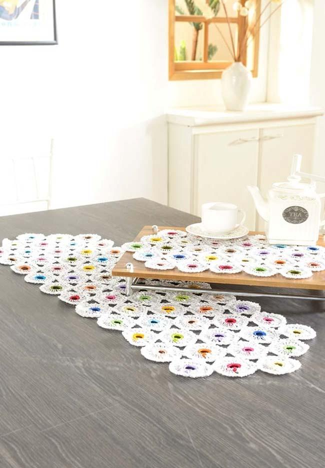 Conjunto de caminho de mesa de crochê