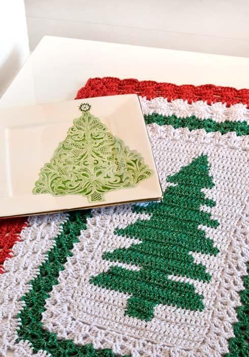 Caminho de mesa de crochê especial para o natal