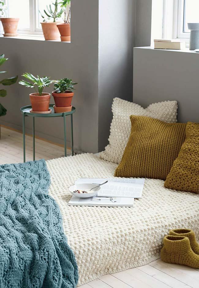 Colcha de crochê para sofá