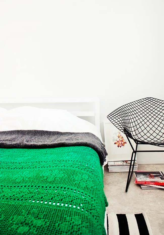 Colcha de crochê verde bandeira para casal