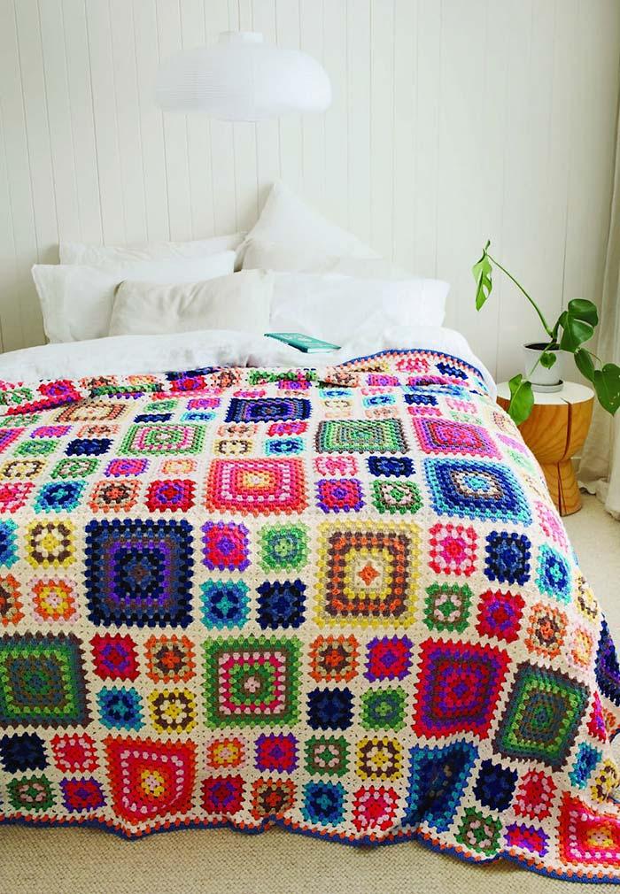 Colcha de crochê super colorida