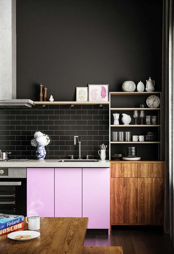 Tom de rosa claro na cozinha