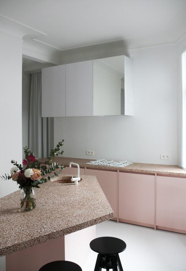 Cozinha rosa simples