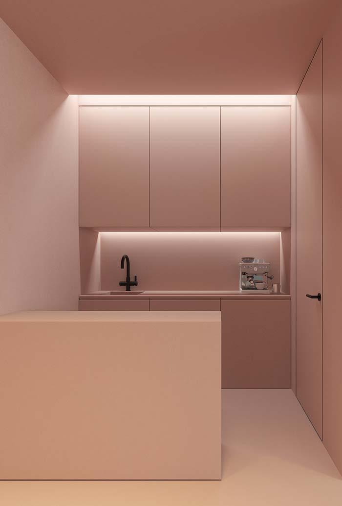 Minimal em Rosa Millennial: ambiente de cozinha planejada rosa em linhas retas e circulação livre
