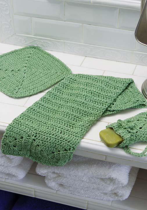 Jogo de banheiro de crochê: paninho para bancada, toalha e porta-sabonete em barbante verde