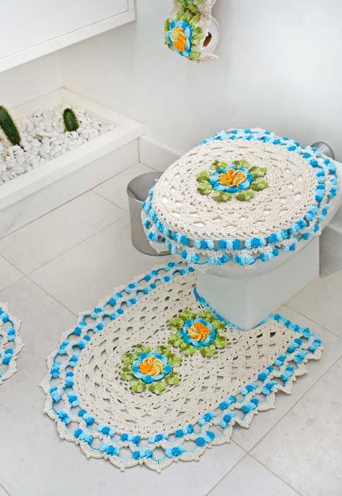 Jogo de banheiro de crochê com tampa de vaso