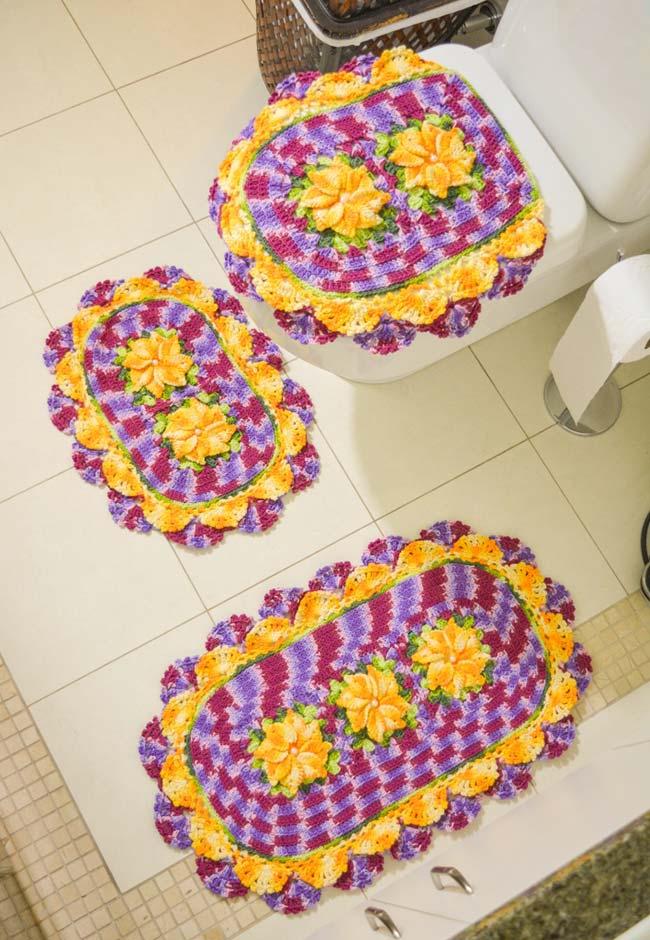 Jogo de banheiro de crochê artesanal