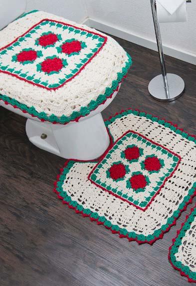 Jogo de banheiro de crochê florido em verde