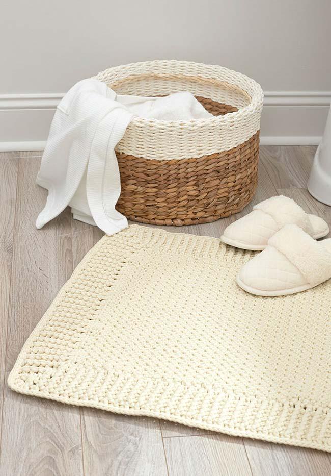 Jogo de banheiro de crochê básico e elegante
