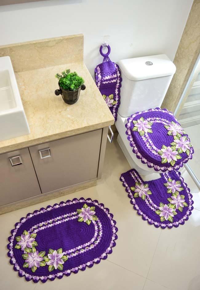 Jogo de banheiro em crochê primavera