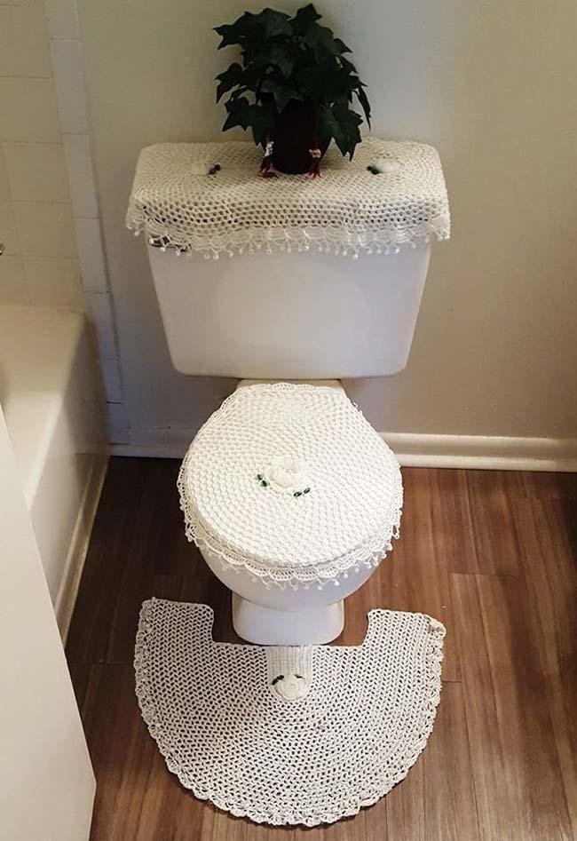 Jogo de banheiro em crochê rendado