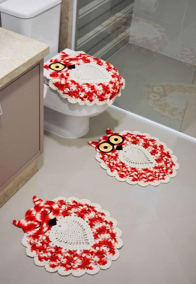 Jogo de banheiro em crochê coruja simpática