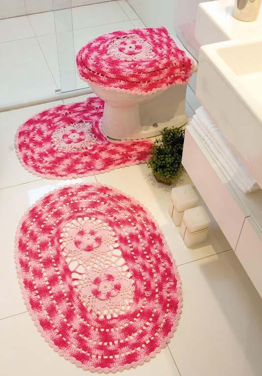 Jogo de banheiro em crochê com linha mesclada