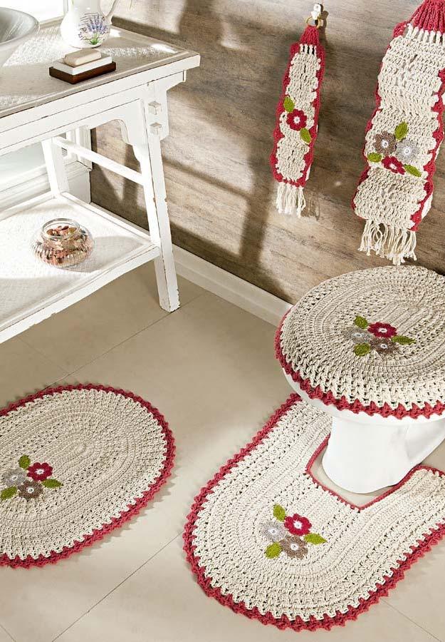Jogo de banheiro em crochê completo com 5 peças