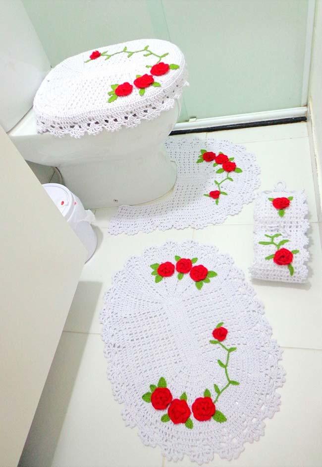 Jogo de banheiro de crochê básico branco