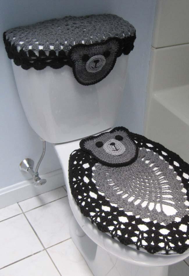 Jogo de banheiro de crochê de ursinho