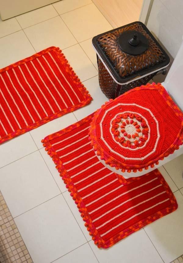 Três peças de jogo de banheiro laranja