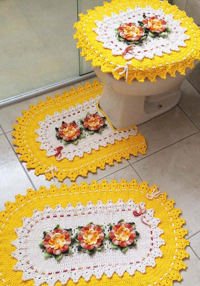 Jogo de banheiro de crochê amarelo