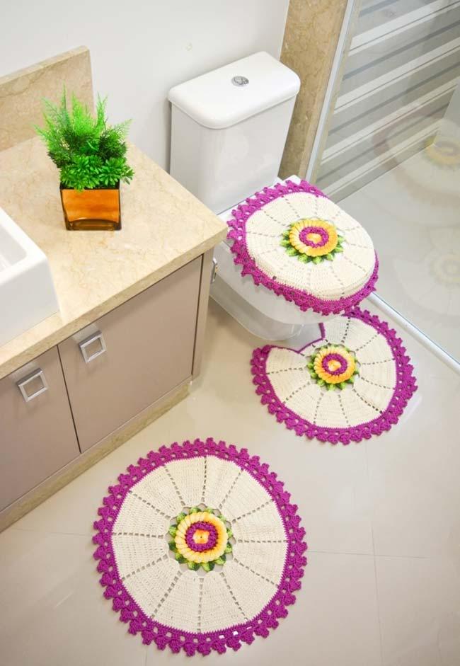 Jogo de banheiro de crochê redondo