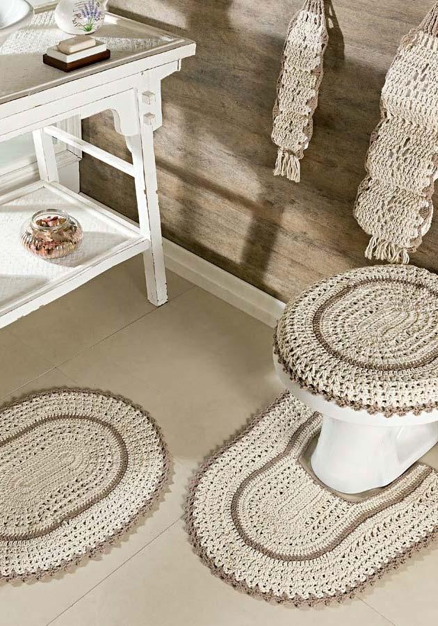 Jogo de banheiro em crochê com cores neutras