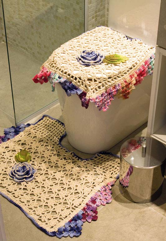 Ponta de jogo de banheiro de crochê e degradê