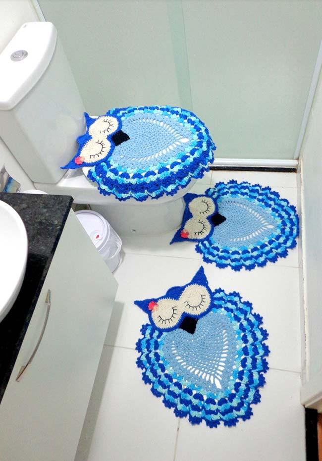 Mais um conjunto de banheiro de crochê baseado nas corujinhas dorminhocas