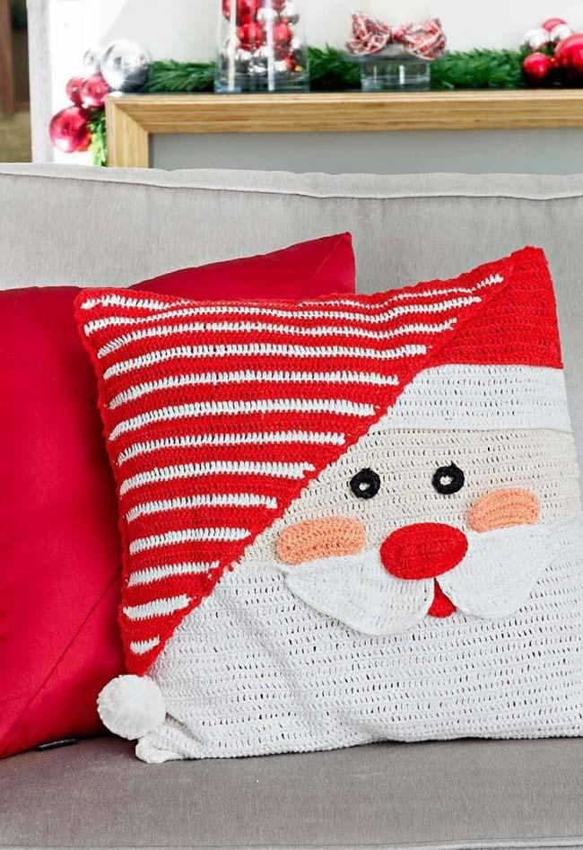Almofada de crochê natalina