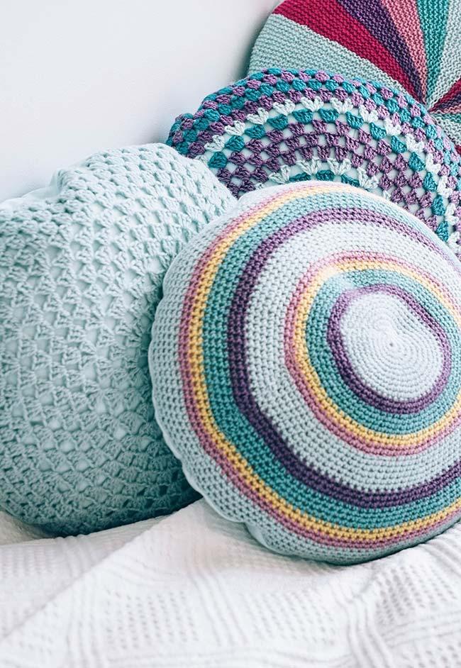 Conjunto de almofadas de crochê redondas