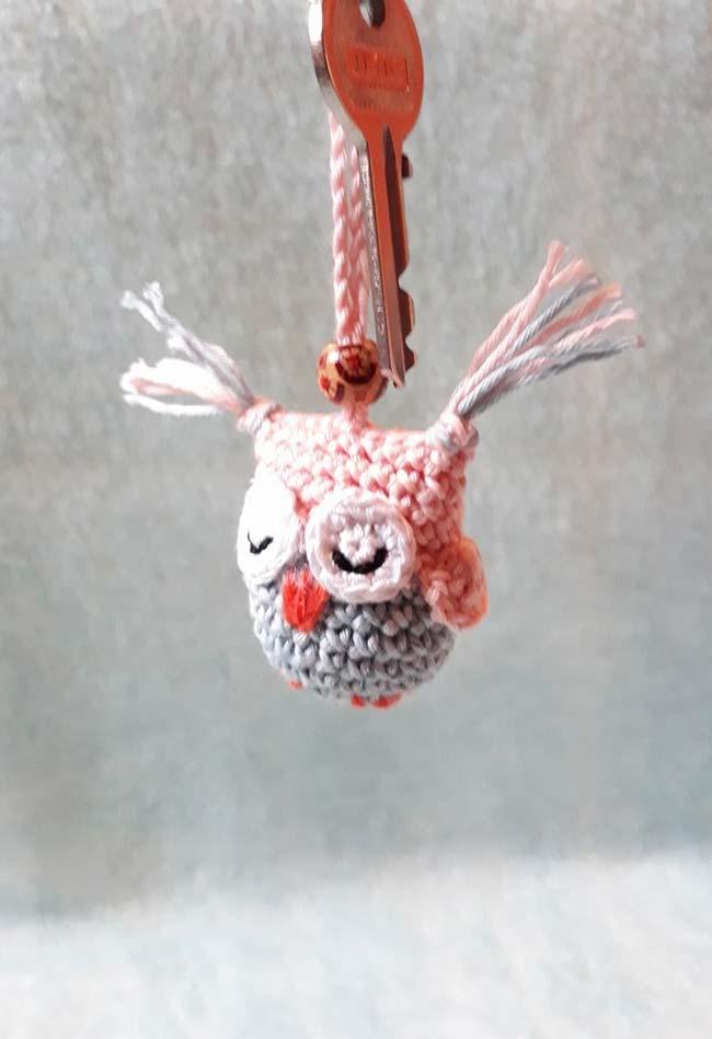 Coruja de crochê chaveiro para nunca esquecer